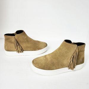 Rebecca Minkoff tan fringe high top sneakers sz 9
